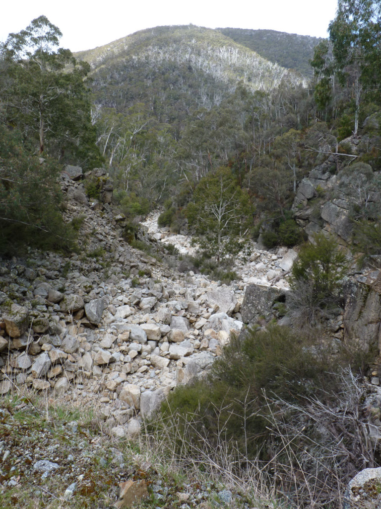 Burrungabugee 3a, dry below weir & bridge since 1965